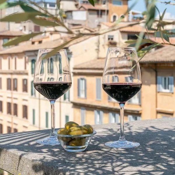 Here is our idea of happy hour: enjoying a glass of wine surrounded by olive trees with a beautiful view of the city.  Can't get more Italian than this 🍷  -  Ecco la nostra idea di happy hour: godersi un bicchiere di vino circondati da ulivi con una stupenda vista sulla città.  Esiste qualcosa di più italiano? 🍷  #9hotelcollection #9hotelcesari #wheninrome #rome #roma #visitrome #igersroma #romeitaly #italianholiday #travelerinrome #besthotels #luxuryhotelsworld #romehotel #romehotels #hotelroma #hotelrome #hotelsinrome #uniquehotels #rometravel #rometrip #romevacation #luxuryitaly #rooftoprome #rooftopbar #roofterrace