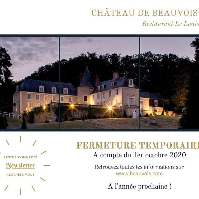 FERMETURE TEMPORAIRE  Face à la situation actuelle, le Château de Beauvois fermera ses portes à compter du 1er octobre 2020 pour les réouvrir en début d'année 2021.  Dans l'attente du plaisir de vous accueillir à nouveau, une permanence mail est mise en place afin que nous ne perdions pas le contact. Vous pouvez donc continuer à nous envoyer vos demandes de séjours, évènements privés et professionnels futurs. Notre équipe se fera un plaisir d'y répondre. Nous vous remercions de votre compréhension et vous souhaitons malgré ce contexte difficile, une bonne fin d'année.  Restez connecté en vous abonnant à notre Newsletter sur www.beauvois.com !  ~~~~~~~~~~~~~~~~~~~~~~~~~~~~~~~~~~~~~  TEMPORARY CLOSURE  Faced with the current situation, Château de Beauvois will close its doors as of October 1st, 2020 & will reopen in the beginning of 2021.  Until we have the pleasure of welcoming you again, an email service is in place so that we do not lose contact. You can continue to send us your requests for future stays, as well as private and professional events. Our team will be happy to answer you.  We thank you for your understanding and we wish you, despite this difficult context, a good end of the 2020 year.  Stay connected to ya by subscribing to our newsletter on www.beauvois.com!  • • • #ycmoments #chateaudebeauvois #younancollection #lelouisxiii #europe #travel #photography #travelphotography #italy #usa #france #love #germany #nature #ig #instagood #europa #photooftheday #travelgram #instagram #spain #uk #world #art #architecture #picoftheday #italia #london #wanderlust #europetravel