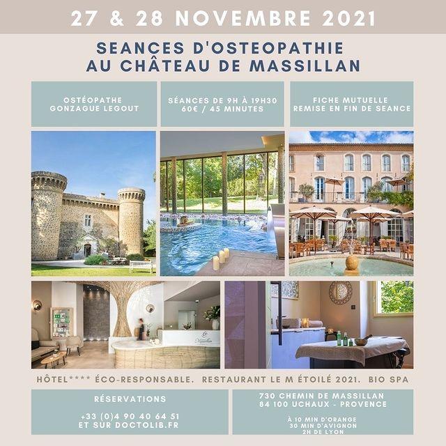 [𝗦𝗘𝗔𝗡𝗖𝗘𝗦 𝗗'𝗢𝗦𝗧𝗘𝗢𝗣𝗔𝗧𝗛𝗜𝗘] Profitez du savoir-faire exceptionnel de Gonzague Legout, ostéopathe depuis plus de dix ans et installé à Lyon, qui investit le Château de Massillan pour un week-end. 👉Réservez votre séance de 45 minutes (entre 9h et 19 h 30), 60 € directement sur Doctolib en cliquant ici : https://www.doctolib.fr/osteopathe/paris/gonzague-legout  #provenceguide #provence #bienêtre #osteopathy #osteo #osteopathie #chateaudemassillan #massage #massage #massagetherapy #massagebienetre #massagerelaxant @osteoz69