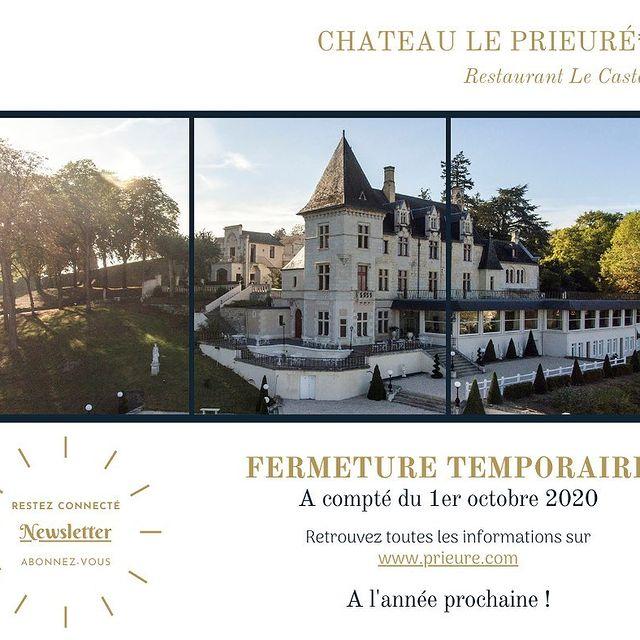 FERMETURE TEMPORAIRE  Face à la situation actuelle, le Château de Prieuré fermera ses portes à compter du 1er octobre 2020 pour les réouvrir en début d'année 2021.  Dans l'attente du plaisir de vous accueillir à nouveau, une permanence mail est mise en place afin que nous ne perdions pas le contact. Vous pouvez donc continuer à nous envoyer vos demandes de séjours, évènements privés et professionnels futurs. Notre équipe se fera un plaisir d'y répondre.  Nous vous remercions de votre compréhension et vous souhaitons malgré ce contexte difficile, une bonne fin d'année.  Restez connecté en vous abonnant à notre Newsletter sur www.prieure.com !  ~~~~~~~~~~~~~~~~~~~~~~~~~~~~~~~~~~~~~  TEMPORARY CLOSURE  Faced with the current situation, Château le Prieuré will close its doors as of October 1st, 2020 & will reopen in the beginning of 2021.  Until we have the pleasure of welcoming you again, an email service is in place so that we do not lose contact. You can continue to send us your requests for future stays, as well as private and professional events. Our team will be happy to answer you.  We thank you for your understanding and we wish you, despite this difficult context, a good end of the 2020 year.  Stay connected to ya by subscribing to our newsletter on www.prieure.com!  • • • #ycmoments #chateauleprieure #younancollection #lecastellane #europe #travel #photography #travelphotography #italy #usa #france #love #germany #nature #ig #instagood #europa #photooftheday #travelgram #instagram #spain #uk #world #art #architecture #picoftheday #italia #london #wanderlust #europetravel