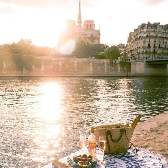 Who says better than a picnic by the Seine during summer?🍾🥂🥖🍇