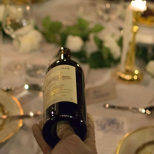 Indulging in a bottle of 2017 @ChateauLaCroixYounan Bordeaux at a private dinner event at Hotel Saint-Martin's Le Logis Restaurant. 🍷