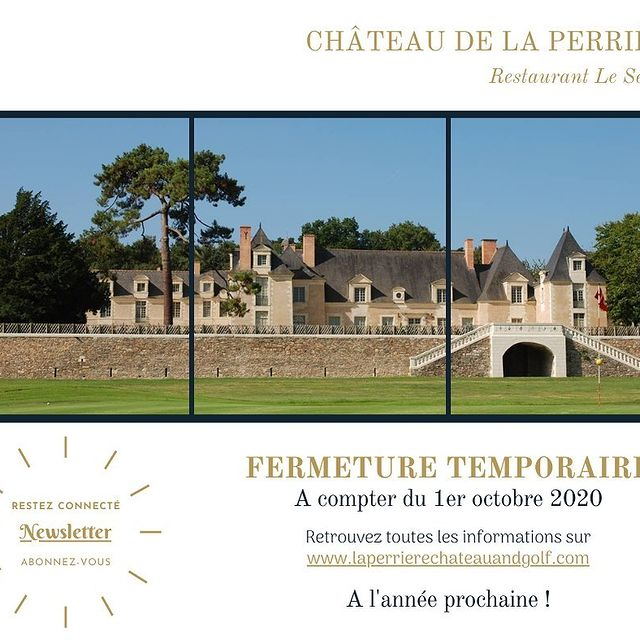 FERMETURE TEMPORAIRE  Face à la situation actuelle, le Château de la Perrière fermera ses portes à compter du 1er octobre 2020 pour les réouvrir en début d'année 2021.  Dans l'attente du plaisir de vous accueillir à nouveau, une permanence mail est mise en place afin que nous ne perdions pas le contact. Vous pouvez donc continuer à nous envoyer vos demandes d'évènements privés et professionnels futurs. Notre équipe se fera un plaisir d'y répondre.  Nous vous remercions de votre compréhension et vous souhaitons malgré ce contexte difficile, une bonne fin d'année.  Restez connecté en vous abonnant à notre Newsletter sur www.laperrierechateauandgolf.com !  ~~~~~~~~~~~~~~~~~~~~~~~~~~~~~~~~~~~~~  TEMPORARY CLOSURE  Faced with the current situation, Château de la Perrière will close its doors as of October 1st, 2020 to reopen them at the beginning of 2021.  Pending the pleasure of welcoming you again, an email service is in place so that we do not lose contact. You can therefore continue to send us your requests for future private and professional events. Our team will be happy to answer them.  We thank you for your understanding and, despite this difficult context, wish you a good end of the year.  Stay connected by subscribing to our Newsletter on www.laperrierechateauandgolf.com! • • • #ycmoments #chateaudelaperriere #younancollection #lesevigne #hotel #travel #restaurant #hotels #holiday #vacation #love #resort #interiordesign #luxury #design #hospitality #food #instagood #hotellife #architecture #photography #summer #relax #travelgram #nature #spa #cafe #beach #like