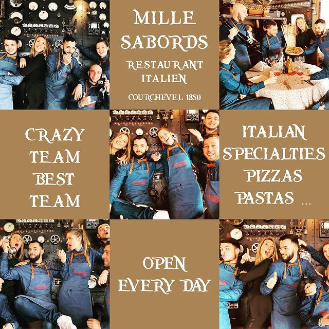 🏴‍☠️ Crazy Pirate Team 🏴‍☠️ 🍴 Open everyday, from noon to 4pm ⚡️ Private party on request 🇮🇹🍕🍝🍰 Italian specialties 🍷 Italian wines 📞 +33 4 79 24 68 97 📧 millesabords@maisontournier.com 🖥 www.millesabords-courchevel.com  #millesabordscourchevel #millesabords #courchevel #courchevel1850 #maisontournier #maisontournierstyle #crazyteam #bestteam #openeveryday #restaurant #italianfood #pasta #pizza #terrasse #beautifulview #3valleys #mountainview #getready #thisiscourchevel