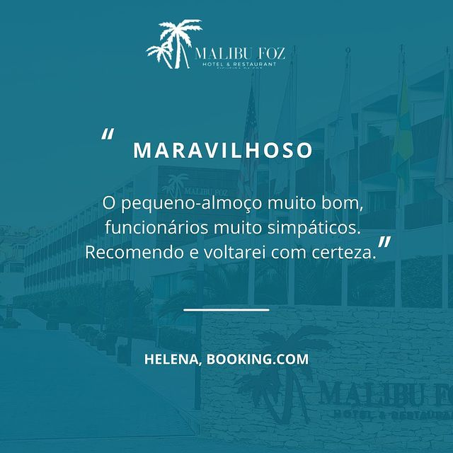 Obrigado! 🤍 • Thank you! 🤍  'Very good breakfast, very friendly staff. I recommend it and I'll come back for sure.' • • • • #malibufozhotel #figueiradafoz #YCmoments #bestportugalhotel #portugalbeachresort