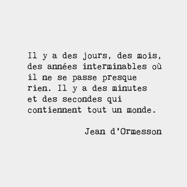 There are days, months, years without end where hardly anything happens. There are minutes and seconds that contain a whole world - Jean d'Ormesson, French novelist (1925-2017) #frenchwords #poetry